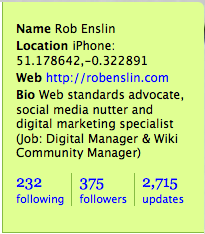 Twitter profile panel (@robenslin)