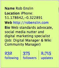 Twitter profile panel (@robenslin)