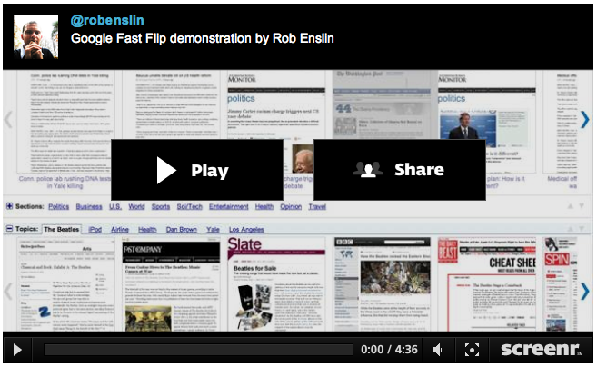 Google Fast Flip demonstration